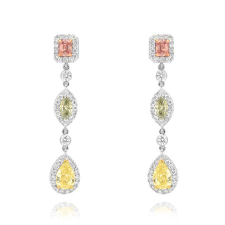 Earrings with natural colored diamonds