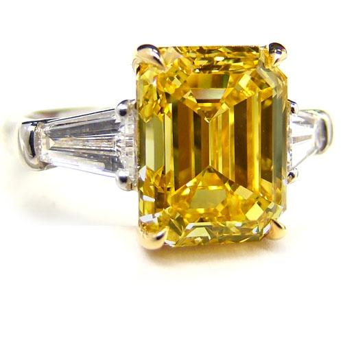 Ring with large yellow diamond