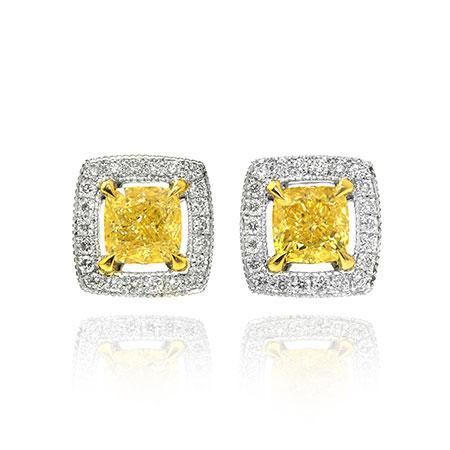 Earrings with yellow diamonds