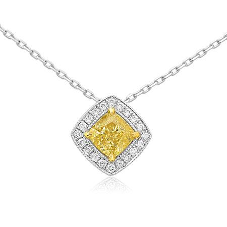 Pendent with yellow diamond of cushion shape