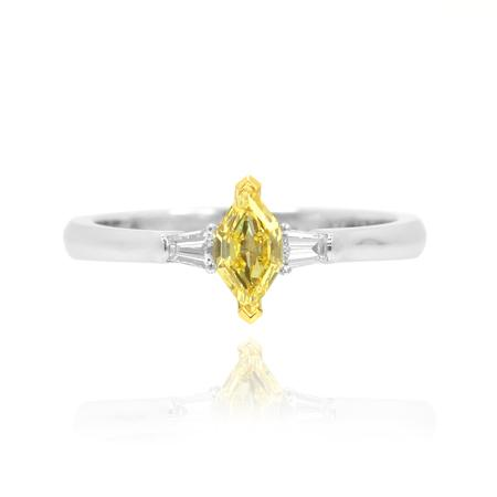 White gold ring with yellow diamond