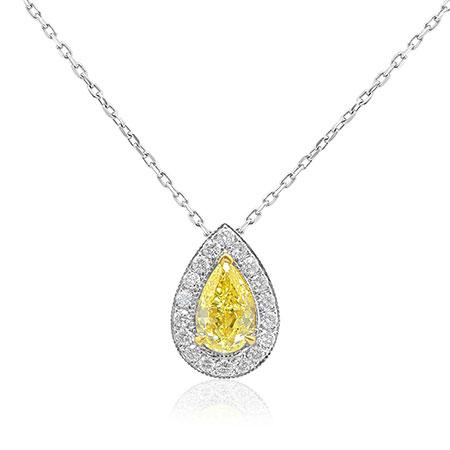 Pendent with yellow diamond of drop shape