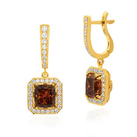 Сережки с большими оранжево-коричневыми бриллиантами