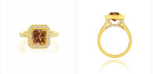 Кольцо с оранжево-коричневым бриллиантом