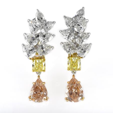 The earrings with pink, yellow and white diamonds