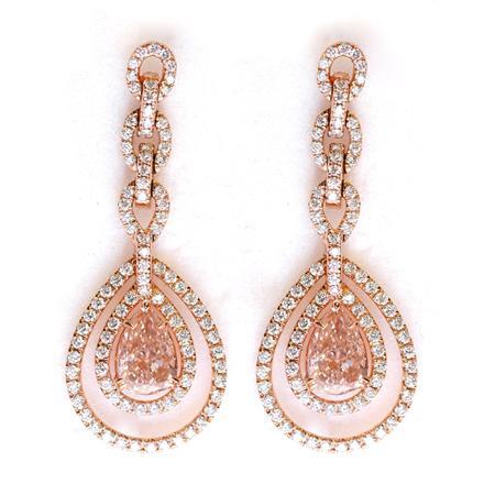 сережки с розовыми бриллиантами