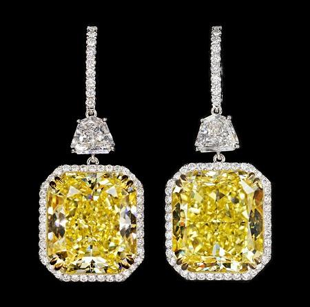 Earrings with large yellow diamonds