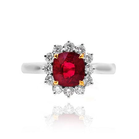 Ring with red diamond