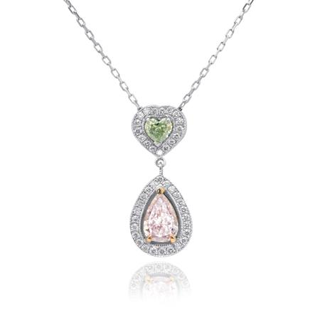 Pendent with pink diamond and green diamond