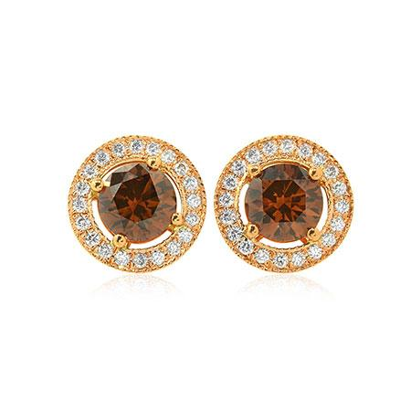 Earrings with natural brown diamond