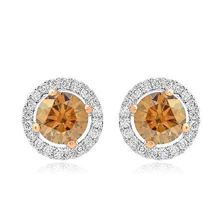 Earrings with natural brown diamonds