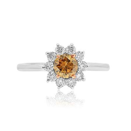Кольцо с натуральным коричневым бриллиантом