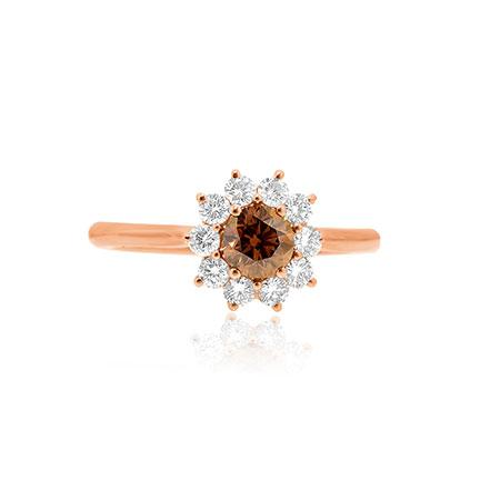 Yellow gold ring with brown diamond