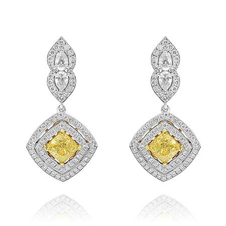 Earrings with a square shape yellow diamonds
