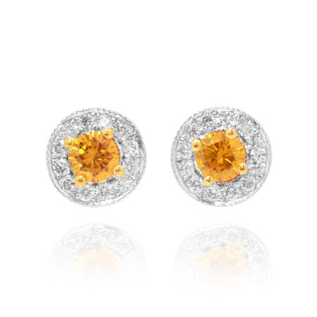 Earrings with orange diamonds