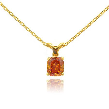 Natural orange diamond in pendent