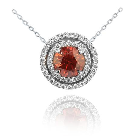 Pendent with deep-orange diamond