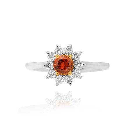 Ring with natural orange diamond