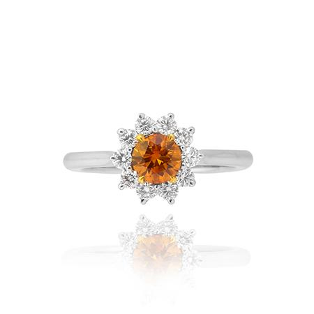 Ring with deep-orange diamond