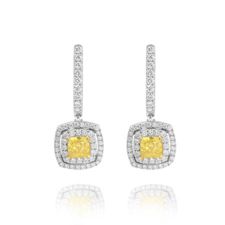 Earrings with natural yellow diamonds
