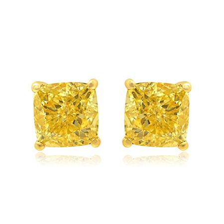 La Poussette Earrings Backs  with yellow diamonds of squared shape