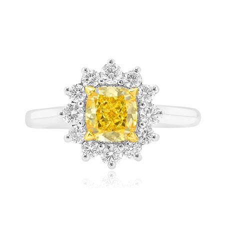 Yellow diamond into ring