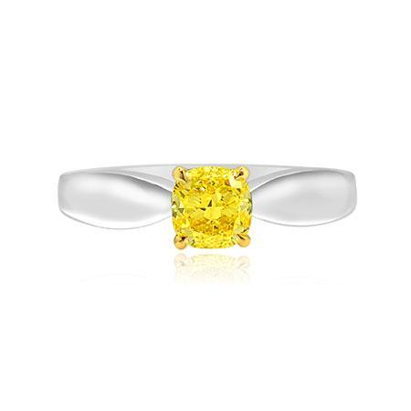 Классическое кольцо с желтым бриллиантом