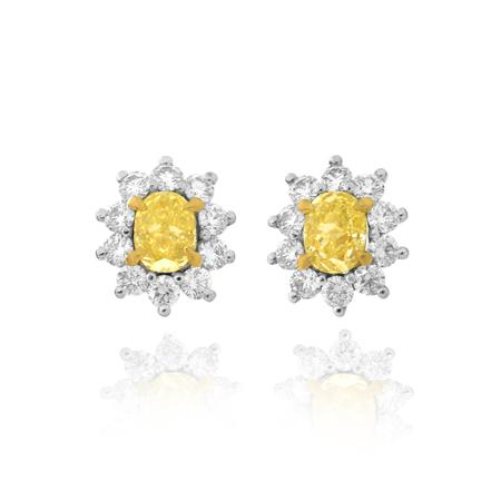 La Poussette Earrings Backs  with yellow diamonds of oval shape
