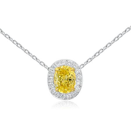 Pendent with yellow diamond of oval shape