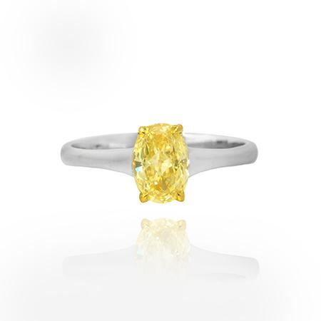Ring with intensive yellow diamond
