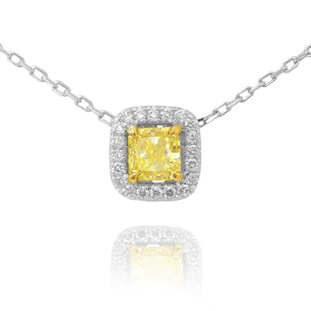 Pendent with yellow diamond of radint shape