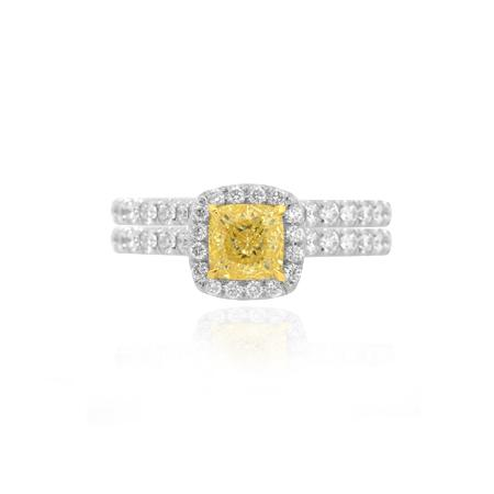Ring with natural yellow diamond